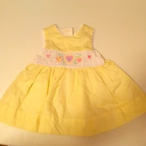 NWOT baby SMOCKED dress with hearts size 3-6 mon